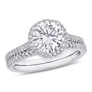 Moissanite by Miadora Signature Collection 14k White Gold 2ct TGW Moissanite and 1/3ct TDW Diamond Halo Bridal Ring Set (More options available)