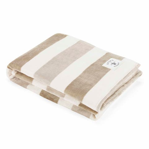 Nautica Awning Stripe Ultra Soft Plush Beige Throw