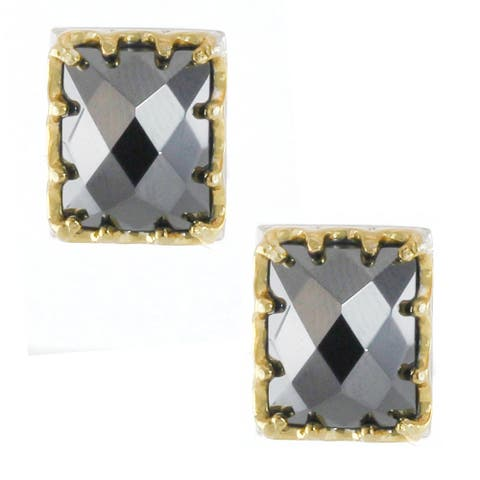 Gems en Vogue Palladium Silver Rectangular Hematite Stud Earrings