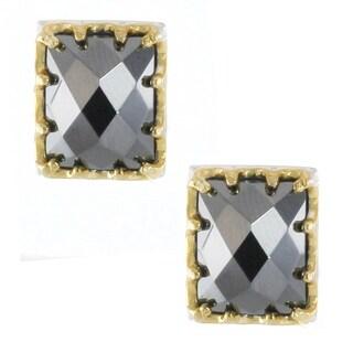 Michael Valitutti Palladium Silver Rectangular Hematite Stud Earrings