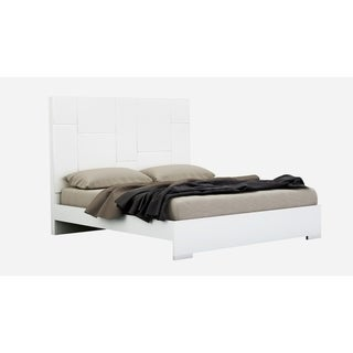 White Lacquer Wood Platform Bed