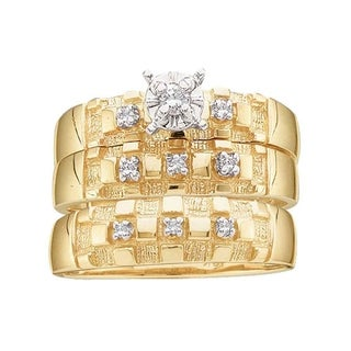 10kt Yellow Gold His & Hers Round Diamond Solitaire Matching Bridal Wedding Ring Band Set 1/8 Cttw