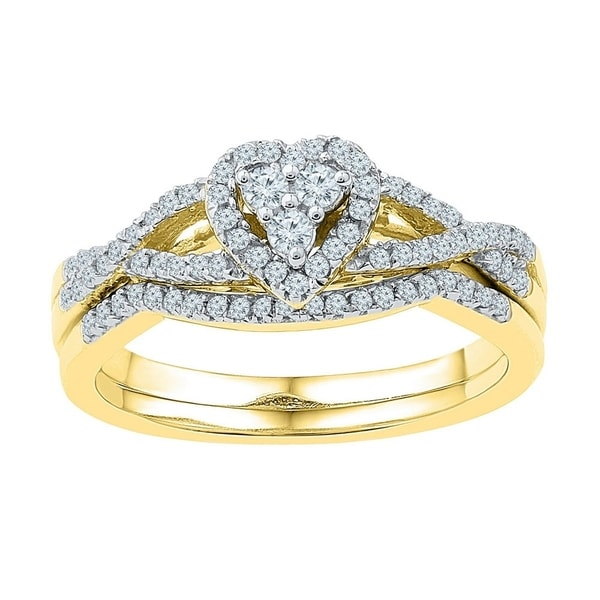 6c73de1a899411 Shop 10k Yellow Gold Womens Round Diamond Heart Cluster Bridal Wedding Engagement  Ring Set 3/8 Cttw - Ring Size 7 Ring Size 7 - Free Shipping Today ...