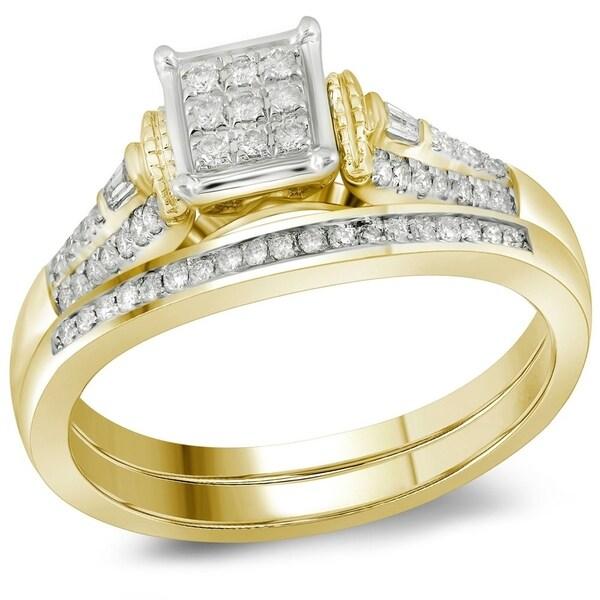 Shop Womens 14k Yellow Gold Baguette Diamond Bridal Wedding