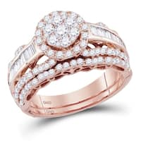 14kt Rose Gold Womens Round Diamond Flower Cluster Bridal Wedding Engagement Ring Band Set 1-1/3 Cttw