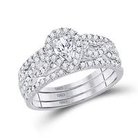 14kt White Gold Womens Pear Diamond 3-Piece Bridal Wedding Engagement Ring Band Set 7/8 Cttw