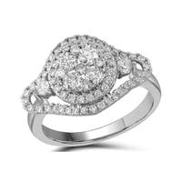 10kt White Gold Womens Round Diamond Cluster Halo Bridal Wedding Engagement Ring 1-1/5 Cttw - Ring Size 7