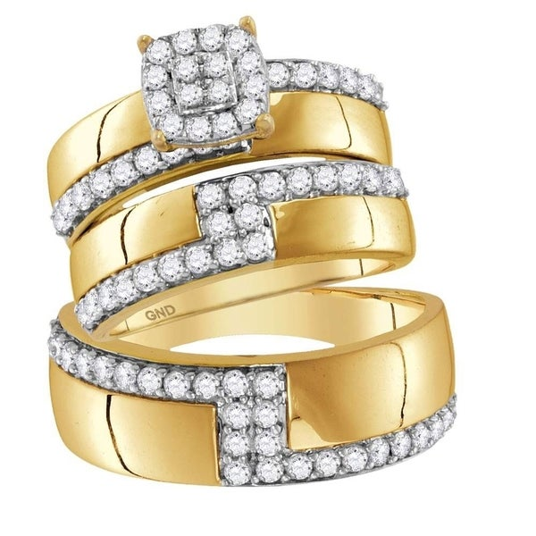 Jewellery 14kt Yellow Gold His & Hers Round Diamond Cluster Matching Bridal Wedding Ring Band Set 1-1/2 Cttw
