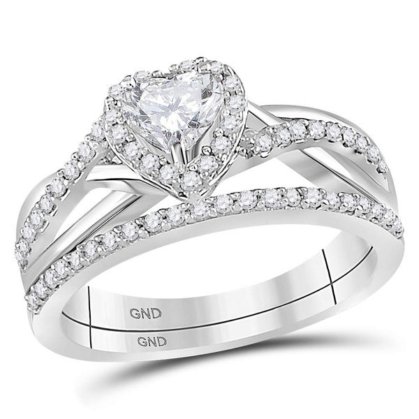 Shop 14kt White Gold Womens Heart Diamond Bridal Wedding Engagement ...