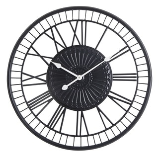 "Oversized Roman Round Wall Clock -28"" In Matte Black finish"
