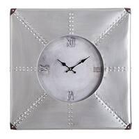 "Oversized Roman Square Wall Clock -24"" In Beautiful Silver Rustic Finish"