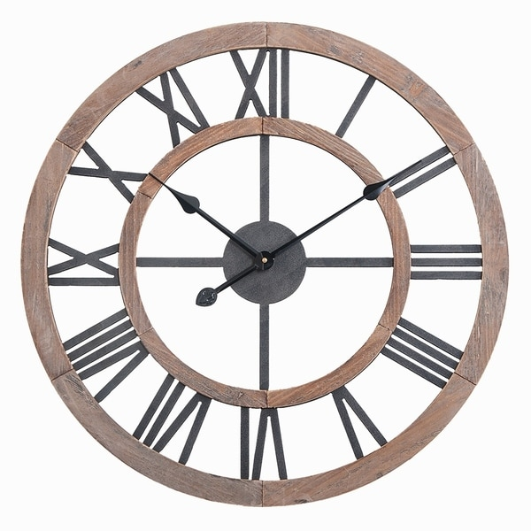 "Oversized Roman Round Wall Clock -24"" In Multi-Tone Wood finish"