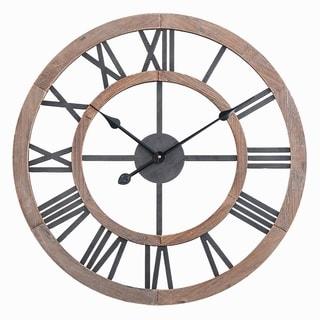 "Oversized Roman Round Wall Clock -24"" In Multi-Tone Wood finish"
