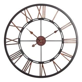 """Oversized Roman Round Wall Clock -28"""" In Dark Bronze finish"""