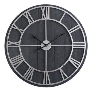 "Oversized Roman Round Wall Clock -28"" In Dark Wood finish"