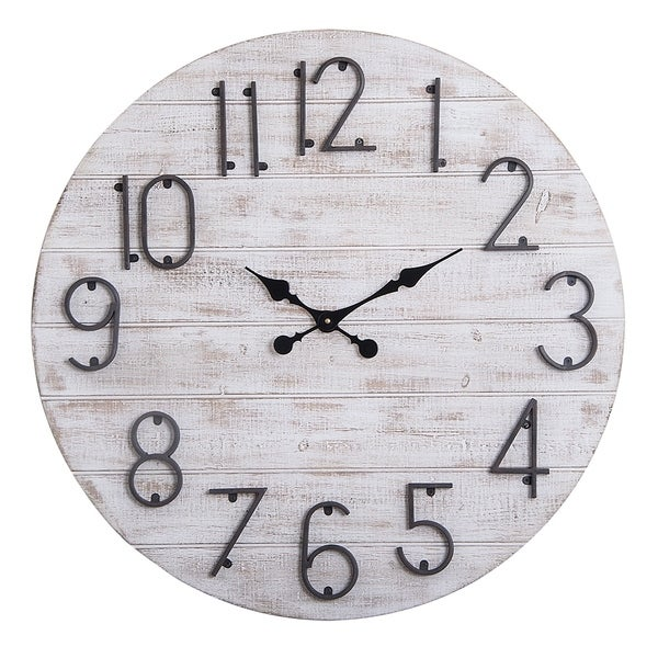 "Oversized Round Wall Clock -28"" In Grey Wood finish"