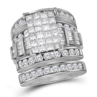 14kt White Gold Womens Princess Diamond Bridal Wedding Engagement Ring Band Set 4.00 Cttw