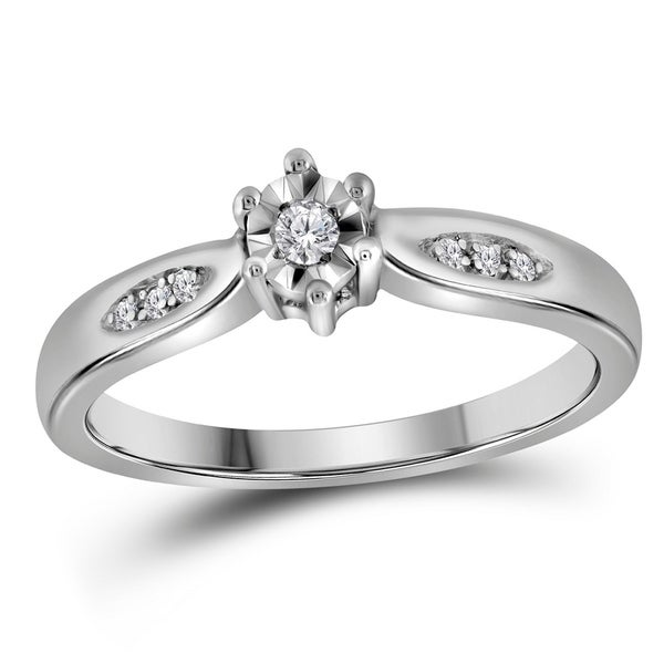 Sterling Silver Womens Round Diamond Solitaire Bridal Wedding Engagement Ring 1 20 Cttw