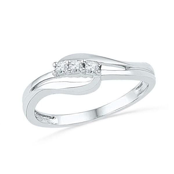 f4197342010016 Shop 10kt White Gold Womens Round Diamond 3 Stone Bridal Wedding