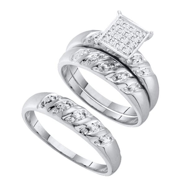 Shop 10kt White Gold His Hers Round Diamond Cluster Matching