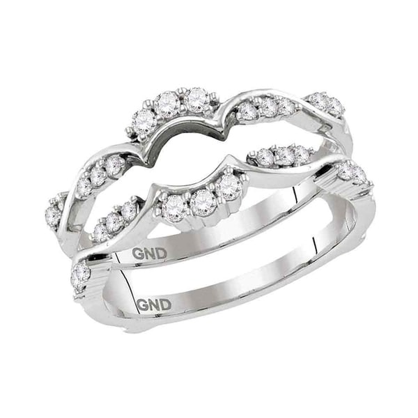 6ff35ffdce126 Shop 14kt White Gold Womens Round Diamond Ring Guard Wrap Solitaire ...