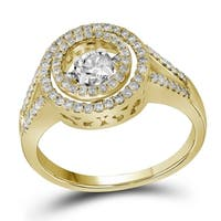 10kt Yellow Gold Womens Round Diamond Moving Twinkle Bridal Wedding Engagement Ring 5/8 Cttw