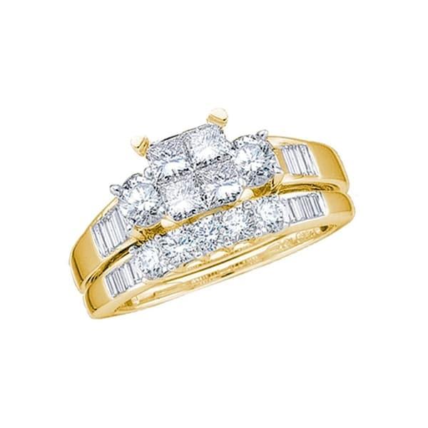 10kt Yellow Gold Womens Princess Diamond Bridal Weddding Engagement Ring Band Set 1 00 Cttw