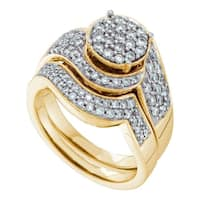 14kt Yellow Gold Womens Round Diamond Cluster Bridal Wedding Engagement Ring Band Set 1.00 Cttw - Ring Size 7