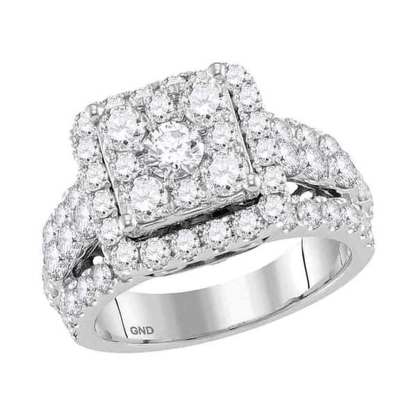 9208af76e Shop 14kt White Gold Womens Round Diamond Square Cluster Bridal ...