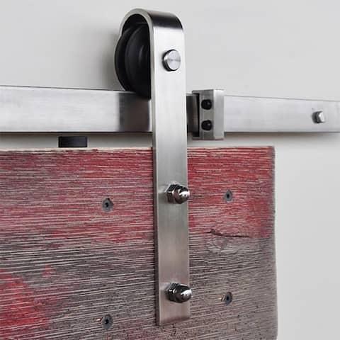 """Stainless Steel Slade Barn Door Hardware Kit - 100"""" rail"""