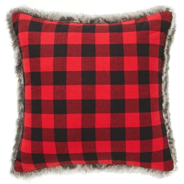 Shop Eddie Bauer Cabin Plaid Red Fur Throw Pillow Free