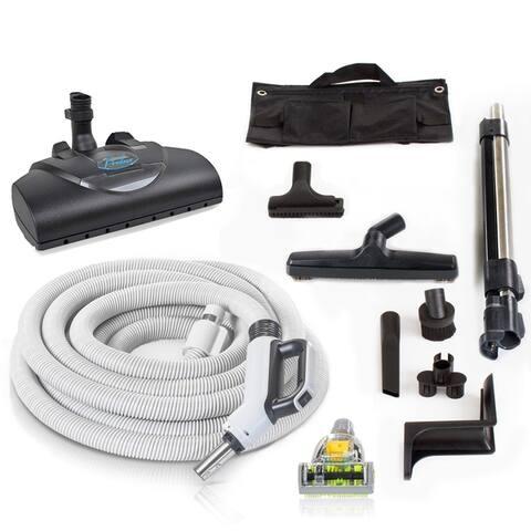 Premium 35 ft Universal Central Vacuum Hose Kit w/ Wessel Werk Power Nozzle by Prolux