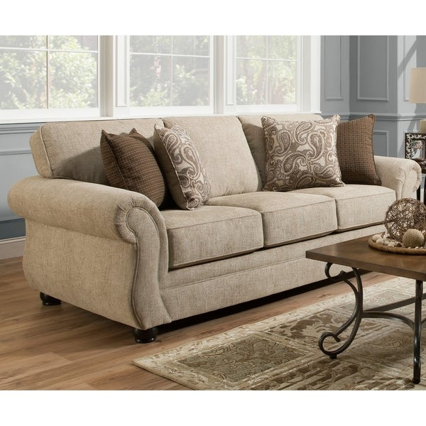 Simmons Upholstery Camden Parchment Queen Sleeper Sofa
