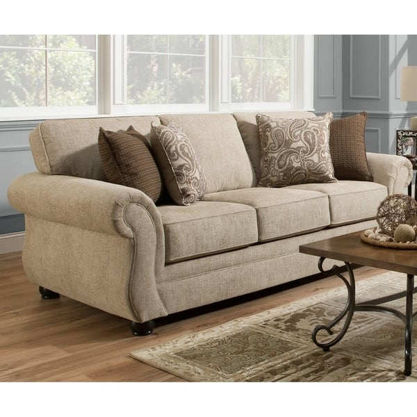 Pleasant Simmons Upholstery Camden Parchment Queen Sleeper Sofa Pabps2019 Chair Design Images Pabps2019Com