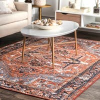 "nuLOOM Rust Traditional Vintage Tribal Aztec Geo Print Ornamental Area Rug - 6' 7"" x 8' 2"""
