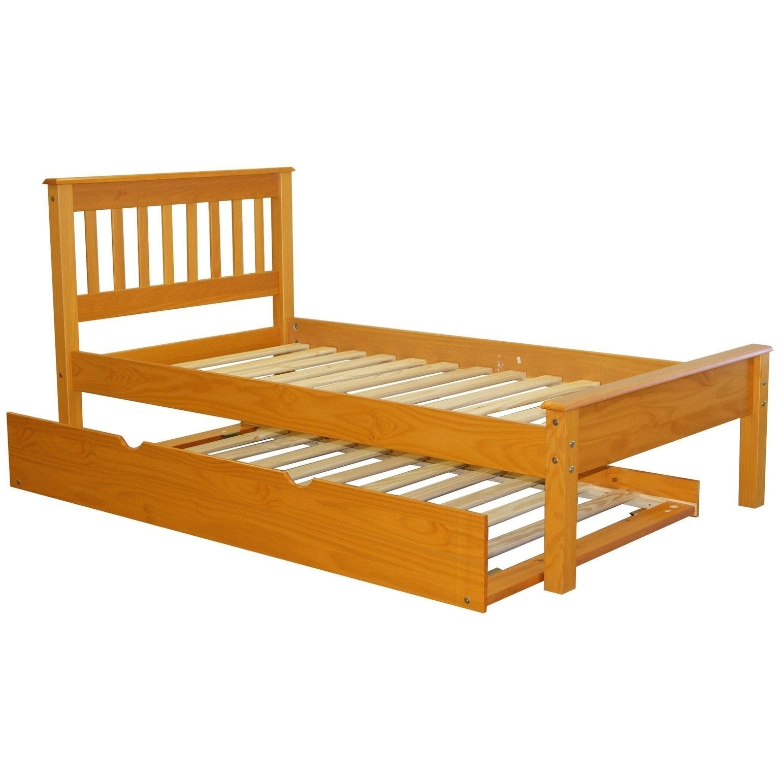 Bedz King Honey Finish Pine Mission Style Twin Bed With Trundle