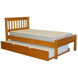 Bedz King Honey Finish Pine Mission Style Twin Bed with Twin Trundle