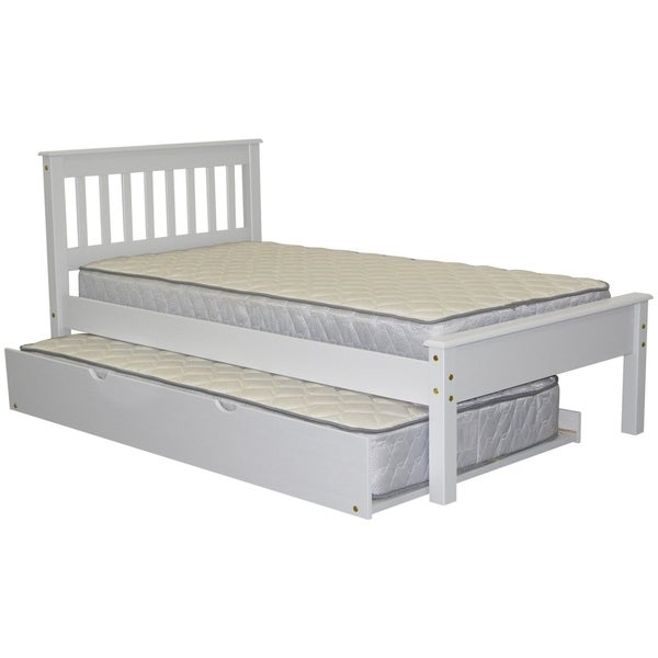 Bedz King White Wood Mission Style Twin Size Bed With Twin Trundle