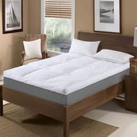 St. James Home Baffle Box 233 Thread Count Cotton Featherbed - White