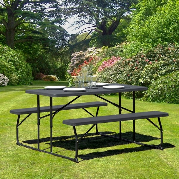 Amazing Shop Insta Fold Charcoal Wood Grain Folding Picnic Table And Squirreltailoven Fun Painted Chair Ideas Images Squirreltailovenorg