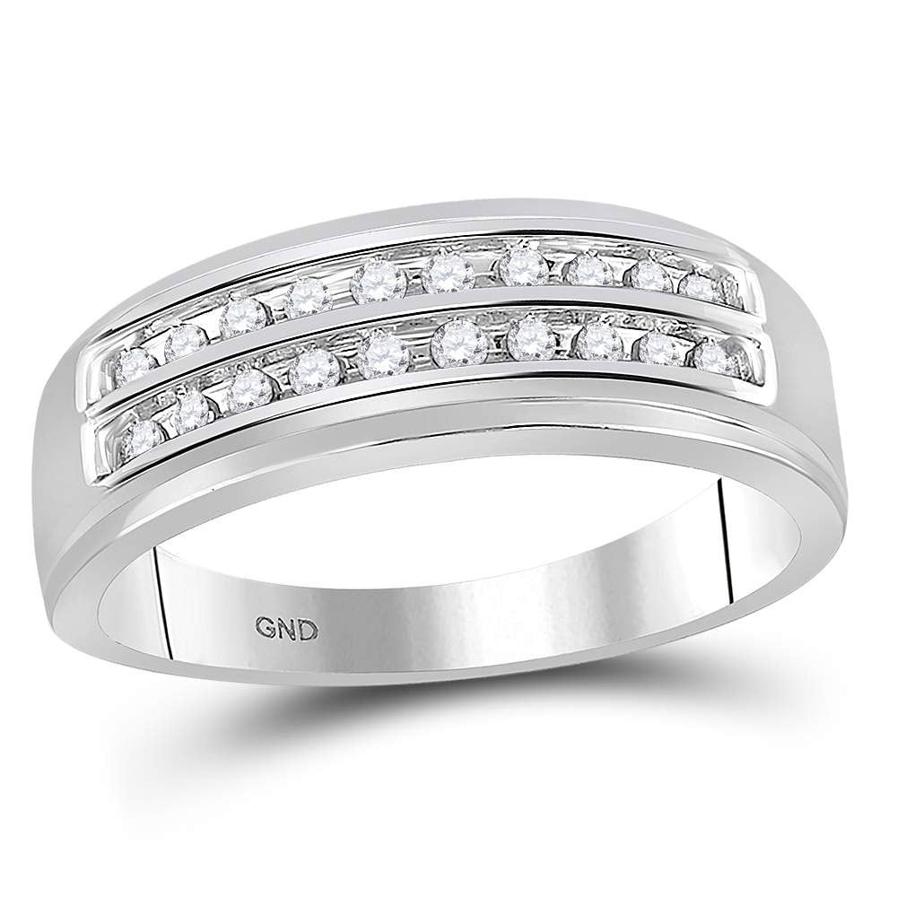 GnD Sterling Silver Mens Round Diamond Band Wedding Anniversary Ring 1//4 Cttw