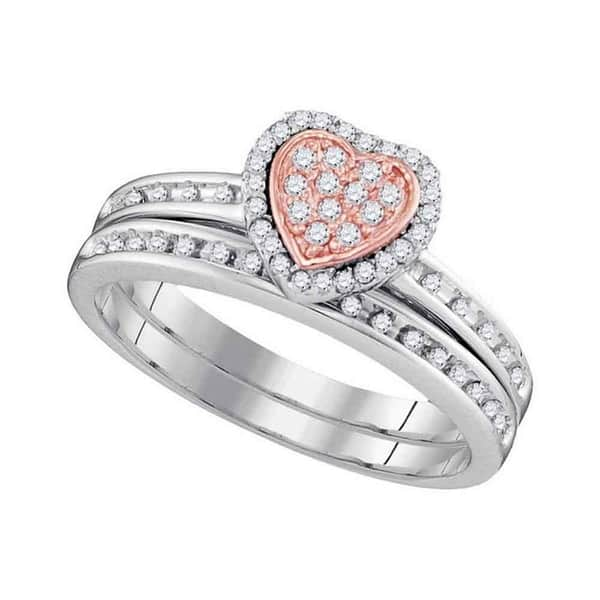 Shop 10kt White Gold Womens Round Diamond Rose Tone Heart Bridal