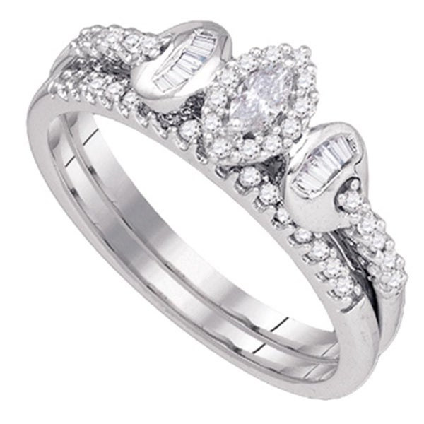 Shop 10k White Gold Marquise Diamond Womens Wedding Bridal Ring Set