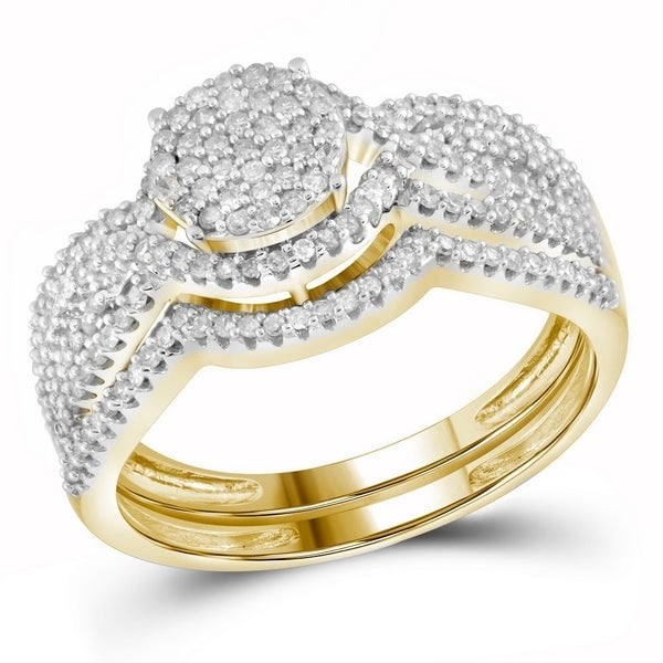 f9ce42082915d1 10k Yellow Gold Womens Round Diamond Cluster Bridal Wedding Engagement Ring  band Set 1/2