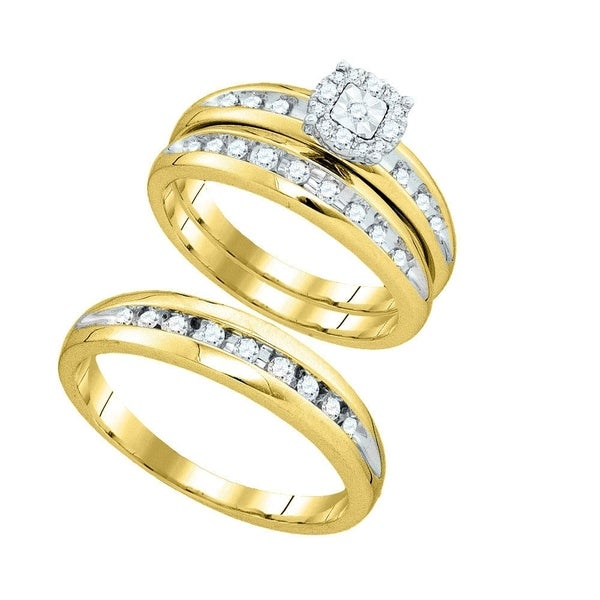 4fb7479b194658 10k Yellow Gold Round Diamond Cluster Mens Womens Matching Halo Trio  Wedding Bridal Ring Set 3