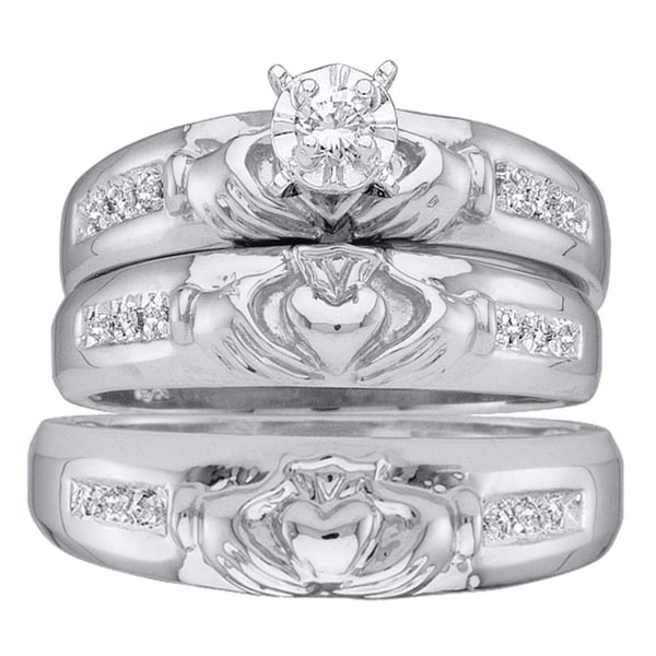 Shop 14kt White Gold His Hers Round Diamond Claddagh Matching