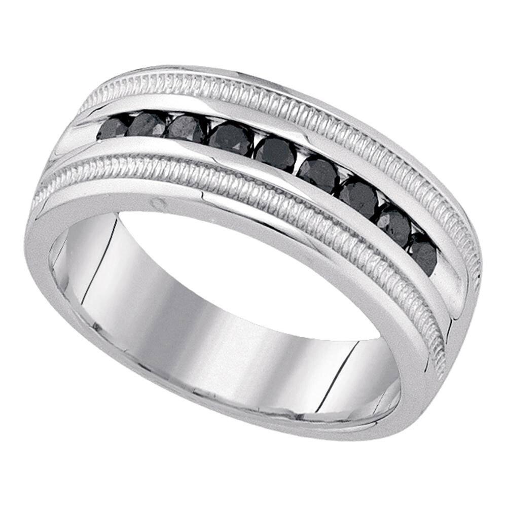 10kt White Gold Mens Round Black Color Enhanced Diamond Wedding Band Ring 1//2 Cttw