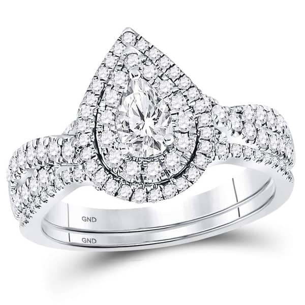 Shop 14kt White Gold Womens Pear Diamond Bridal Wedding Engagement