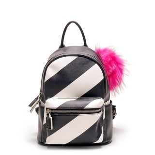 Like Dreams Bellani Striped Pom Pom Backpack