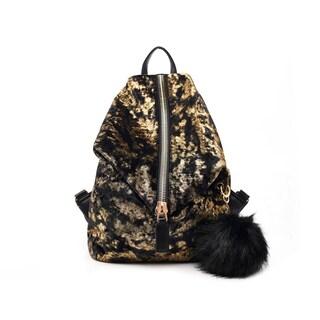 Like Dreams Ash Velvet Pom Pom Backpack